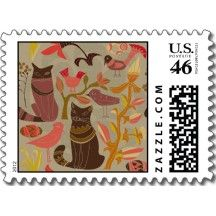 Cute Little Birds & Cats Stamps