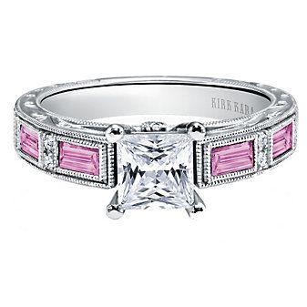 Kirk Kara 18K White Gold Charlotte Diamond & Pink Sapphire Ring Mounting  2FSSW3951