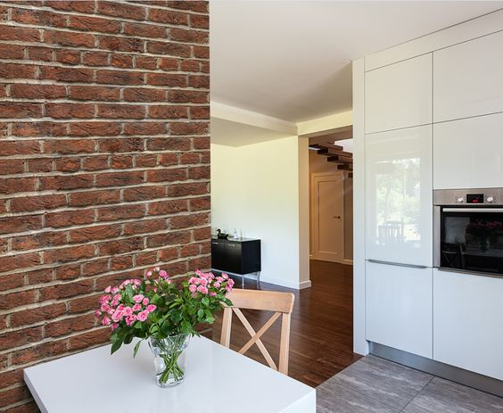 Brick wallpaper bricks and wallpapers on pinterest for Brick wallpaper ideas for kitchen