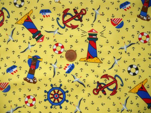 YELLOW WITH BLUE LIGHTHOUSES & LIFE BELTS