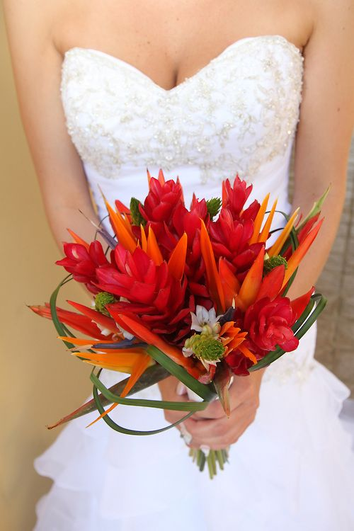 Tropical wedding bouquet with red ginger and bird of