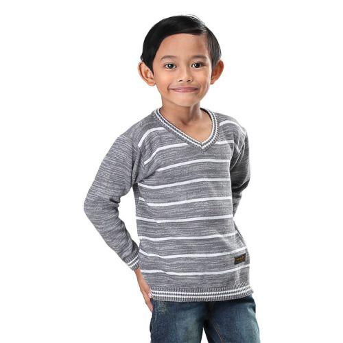 Sweater Anak Laki Laki Ivm 916 Rajut Abu Abu Kombinasi