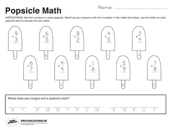 Printables Printable Math Worksheets For 1st Graders supermom math facts and popsicles on pinterest 1st grade worksheets your free printable worksheet featuring first math