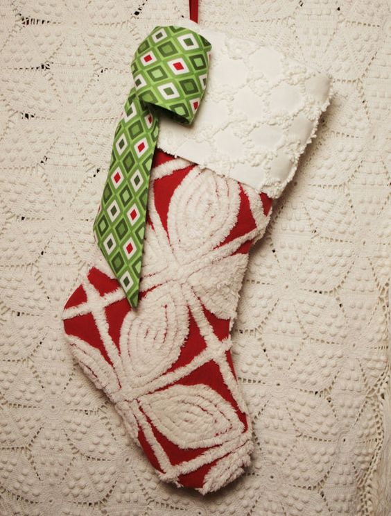 Red and White Vintage Chenille Christmas Stocking