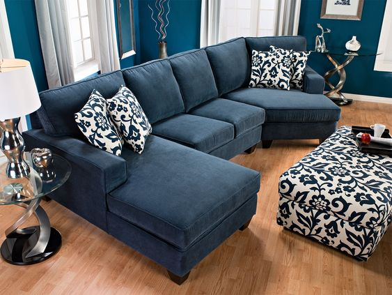 Indigo the brick and rooms furniture on pinterest for Small sectional sofa with cuddler