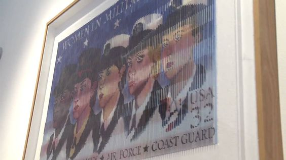 """""""Military Icons""""by Antonio Perez Melero. From one angle you see the women in service and from the other angle you see the American flag. Very neat piece. Women's Memorial in Arlington National Cemetery."""