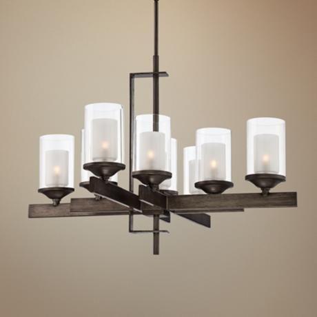"Naber 30"" Wide 8-Light Double Glass Bronze Chandelier -"
