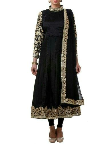 Blk with intricate gold embroidery.