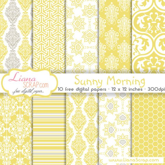 Free digital paper pack – Sunny Morning Set - http://www.lianascrap.com/free-digital-paper-pack-sunny-morning-set/