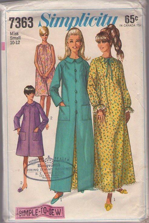 MOMSPatterns Vintage Sewing Patterns - Simplicity 7363 Vintage 60's Sewing Pattern SWEET Comfortable Modest Nightgown, Winter Summer, Flared Duster Robe, House Coat Size Small