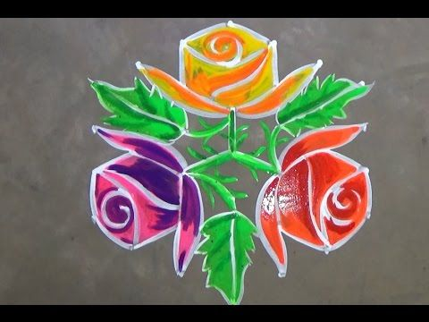 Rose Flower Kolam Designs With 7x4 Dots For Pongal Sankranti Muggulu Easy Rangoli Designs Youtube Kolam Designs Simple Rangoli Rangoli Designs