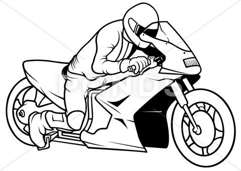 Motorcycle And Driver Graphic 32213153 With Images Motorbike
