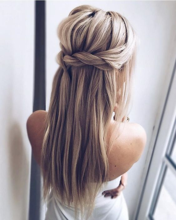 Wedding Hairstyles Up Half Up Down Straight With Braid Wedding Hairstyles For Long Hair Vi Long Hair Styles Braided Hairstyles For Wedding Straight Hairstyles