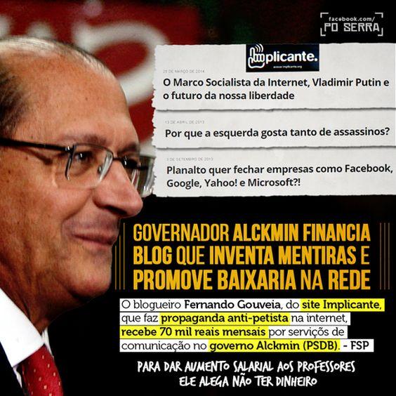 RT @DemocraciaSempr: #PSDBblindadoPelaMidia e nós é que pagamos os seus blogueiros chapa-branca...