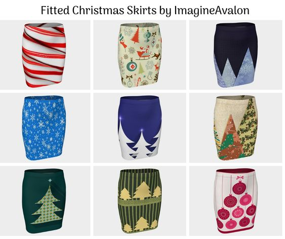 Fitted Christmas Skirts by ImagineAvalon