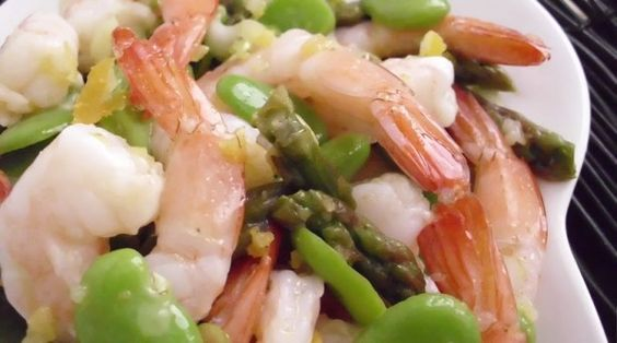 Shrimp, Fava Beans & Asparagus in Meyer Lemon Dressing