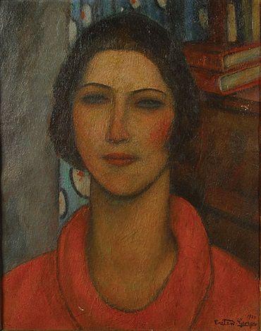 Vrouw met ronde kraag by Georges Creten (1887-1966)