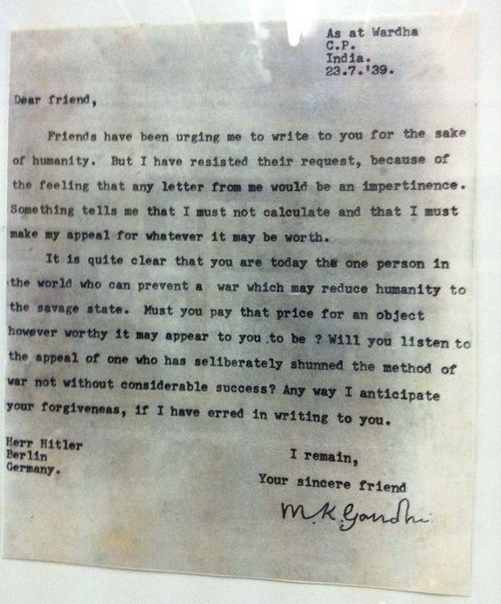 Ietter from Mohandas Karamchand Gandhi to Adolf Hitler