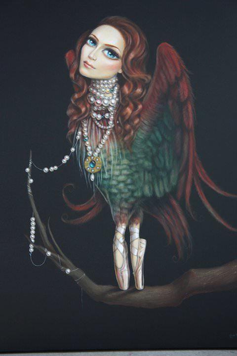 bird woman ballerina surrealist fine art painting by leile ataya feminine girl with pearl necklace