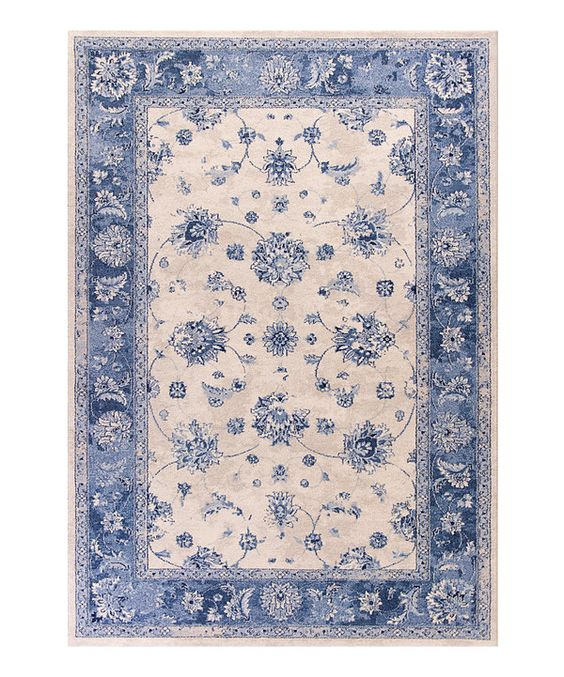 Look at this Gray & Sky Blue Mahal Rug on #zulily today!