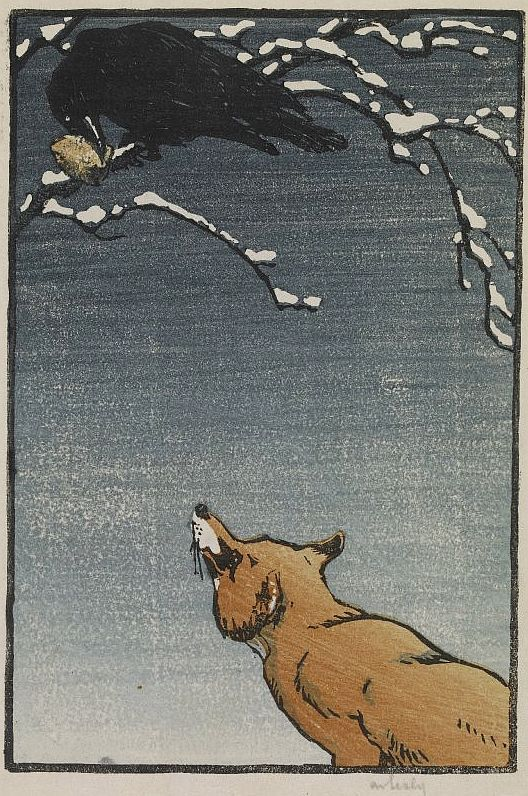 "Allen William Seaby, British (1867-1953) -Fox and Crow, Colour Woodcut, Signed in graphite below image, titled and annotated ""1 black 2 coloured, 15 x 10 cm"