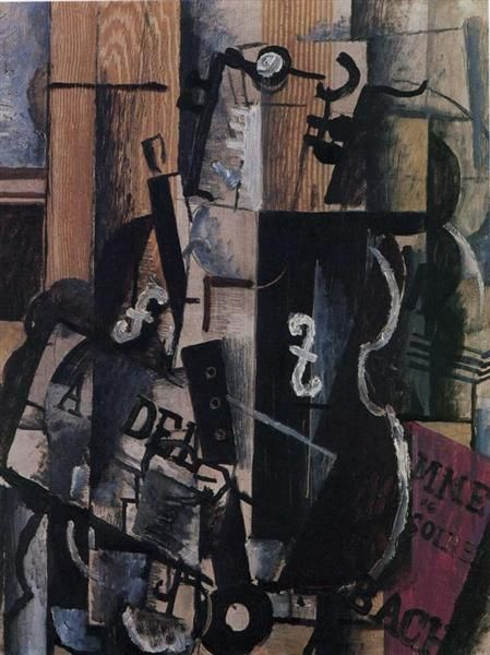 Violin and Clarinet on a Table - Georges Braque. Cubismo analítico, 1912