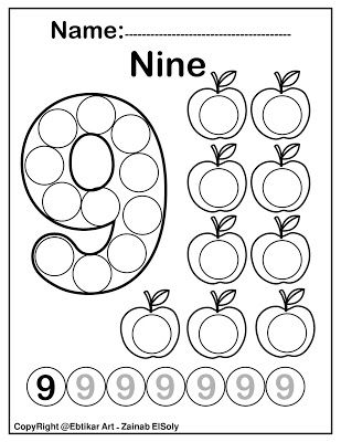 Number Nine 9 Dot Marker Coloring Page Activity Dot Marker Activities Dot Markers Preschool Coloring Pages
