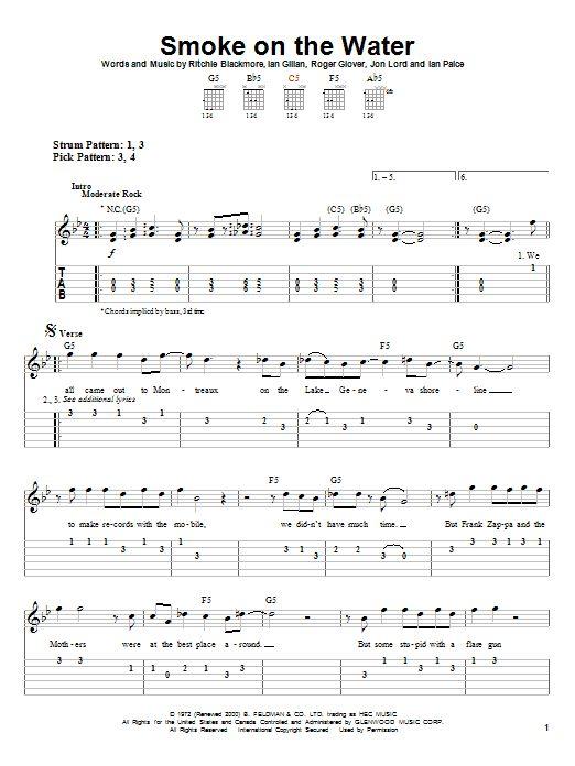 Beginner Guitar Sheet Music Free Printable Smoke On The Water