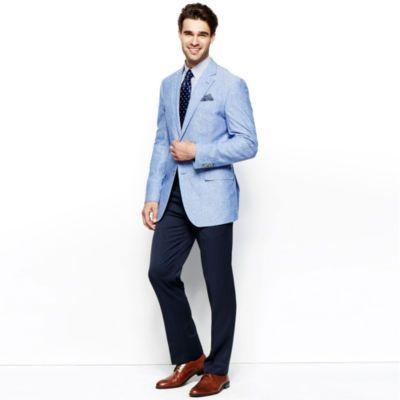 A Spring Classic Light Blue Blazer With Navy Slacks