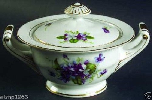 Fine China Of Japan Boutonniere Purple Violets Gold Trim Sugar Bowl with Lid Sold