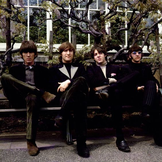 The Beatles, 1966, Chiswick Park. Links to the story of their official photographer, interesting bit of music history. (Pictured above: the coolest bus-stop crowd EVER.)
