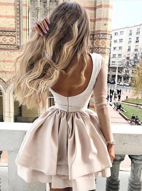 A Line High Neck Champagne Appliques Long Sleeves Homecoming Dress
