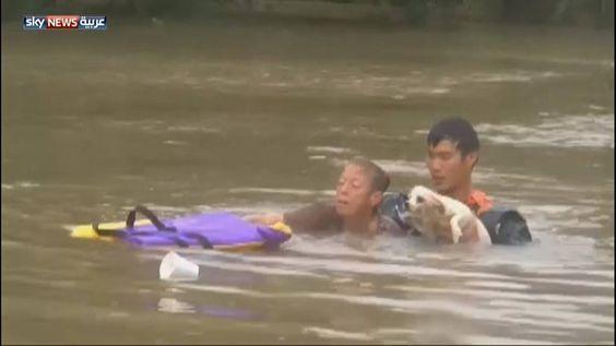 رجل شجاع ينقذ سيدة وكلبها من الغرق | #فيضانات #لويزيانا #الولايات_المتحدة