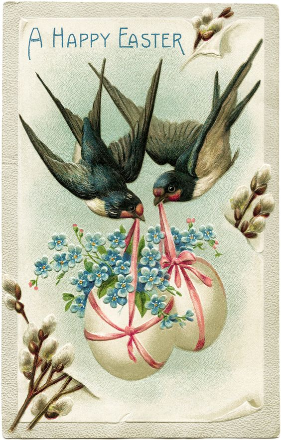 vintage easter postcard, birds carrying decorated eggs, vintage birds clip art, old fashioned easter card, fantasy easter graphics: