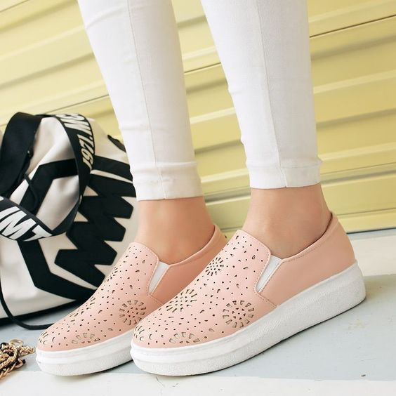 Womens Casual Platform Flats Loafers Hollow Cut Elastic Creeper Shoes Sneakers