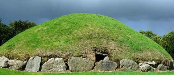 ancient mystical megalithic mounds at Knowth in Ireland.