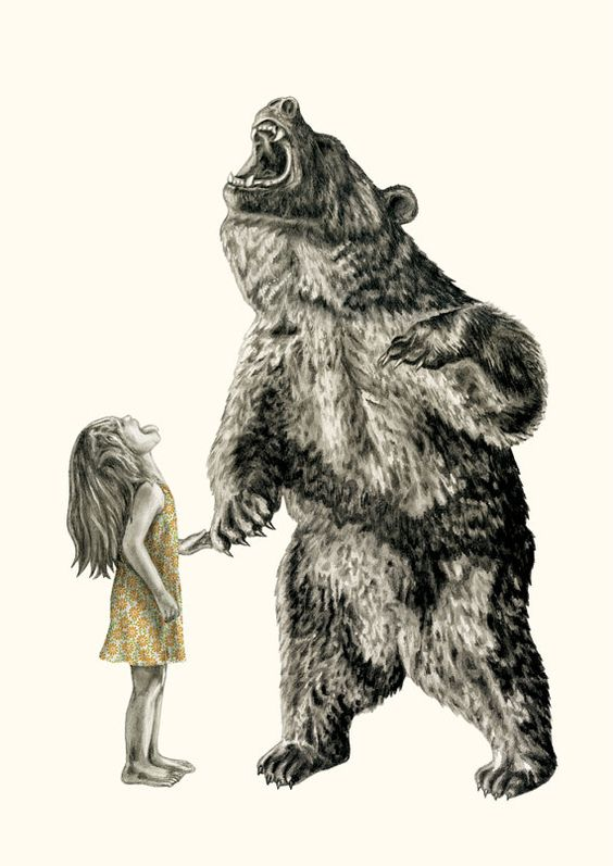 Bear With Me Illustration Art Print A3 by LaurenMortimer on Etsy, $122.00: