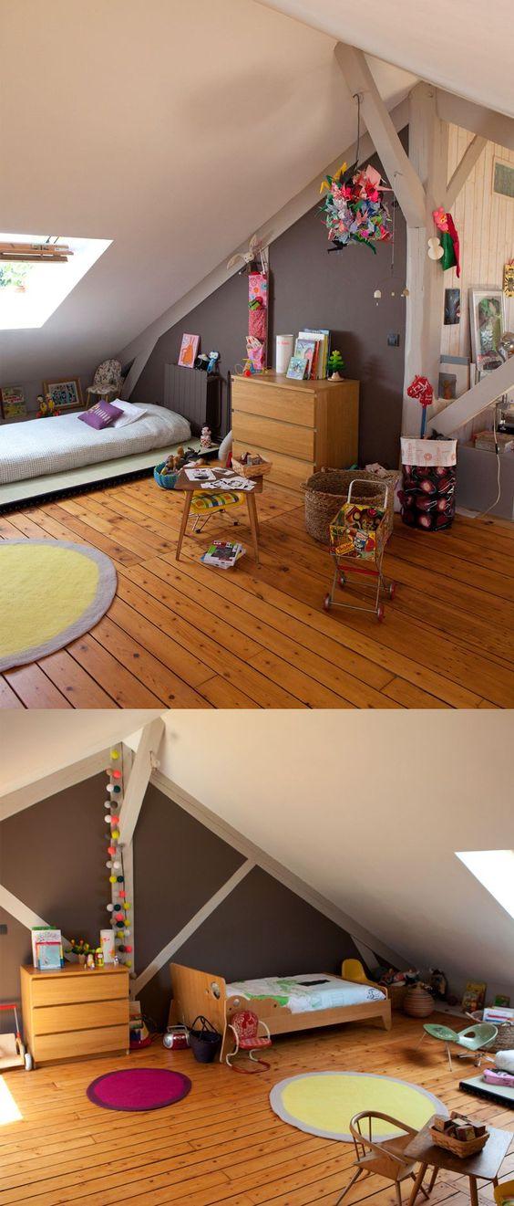 Jolie chambre d'enfant sous les combles: