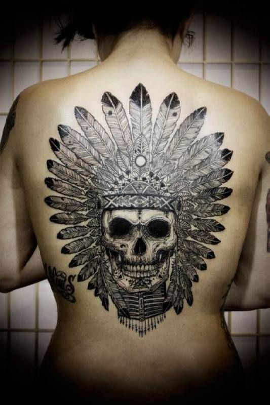 Indian Skull Tattoo Motif #Tattoo, #Tattooed, #Tattoos
