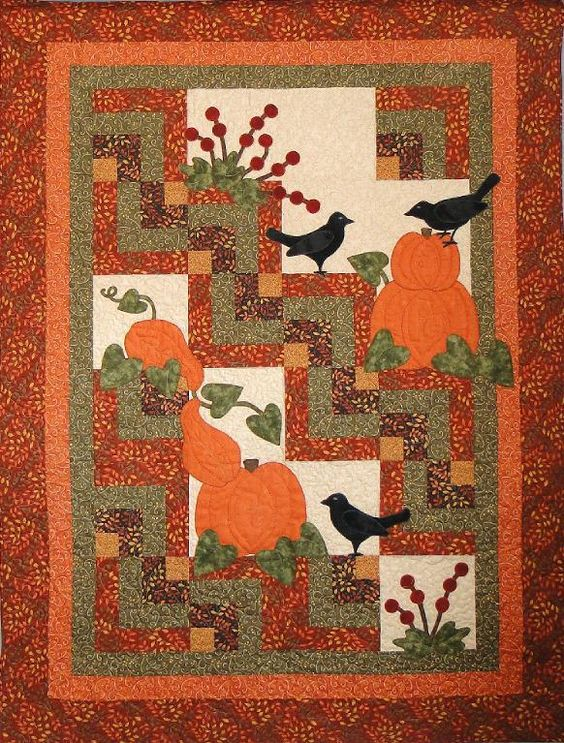 Harvest Cabins pattern on Craftsy.com  Nice combination of traditional blocks and applique.