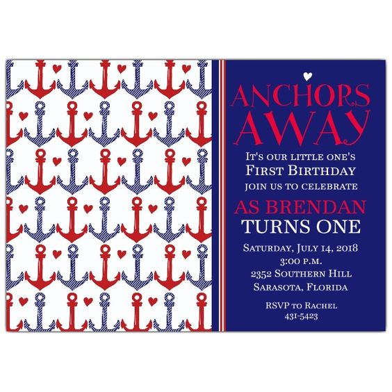 Anchors Away Red First Birthday Invitations