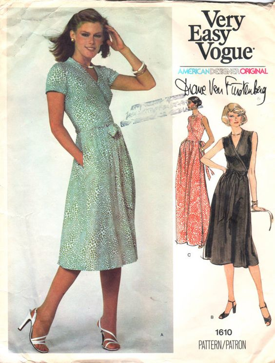 Vogue 1610 1970s Misses Wrap DRESS Pattern Diane Von Furstenberg womens vintage sewing pattern by mbchills