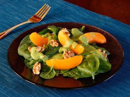 Apricot Spinach Salad with Avocado Basil Dressing Recipe on Yummly