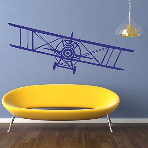Vinyl airplane wall decal biplane wall sticker airplane for Airplane wall decoration
