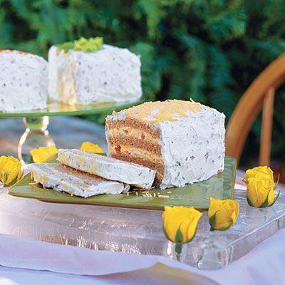 Love this idea! Frosted party sandwiches made from classic cold spreads like egg salad, chicken salad, tuna salad, ect. Make a triple decker crustless sandwich and spread a cream cheese mixture over the top and sides. Garnish with celery leaves, paprika, or cheddar cheese. Make the night before and chill.  Use a serrated knife to cut...and enjoy!! :)