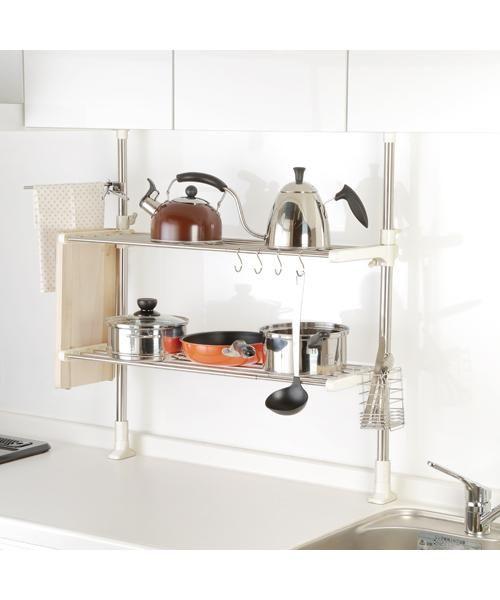 ニトリ ステンレスつっぱりラック 2段 通販 インテリア 家具