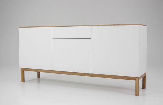 SLIM Schrank Sideboard Kommode Weiß U0026 Top Eiche   Einrichtung   Pinterest