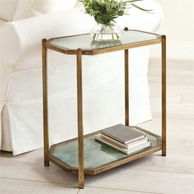 Kendall Rectangle Glass Side Table Glass Side Tables Rectangle Side Table Small Accent Tables Small occasional tables living room