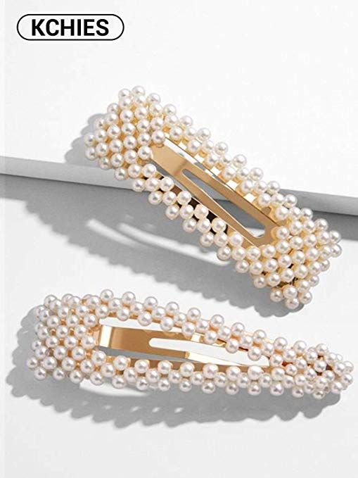 Triangle Oversize Faux Pearl Snap Hair Clip Barrette Pin Vintage Style Beaded Bridal Accessory