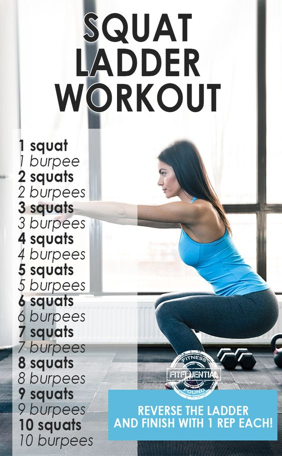 Squat Ladder workout - work through the reps on the ladder then work your way back down.